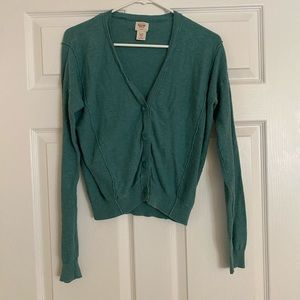 Green-blue cardigan sweater